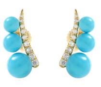 Ohrringe Prive aus 18kt Gelbgold mit Diamanten und Türkisen