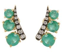 Ohrringe Prive aus 18kt Gelbgold mit Diamanten und Smaragden
