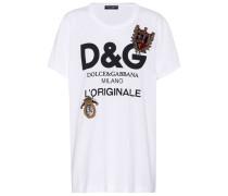Bedrucktes T-Shirt aus Baumwolle mit Verzierungen