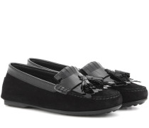 Loafers Frangia aus Lack- und Veloursleder