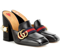 Verzierte Loafer-Mules aus Leder