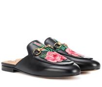 Bestickte Slippers Princetown aus Leder