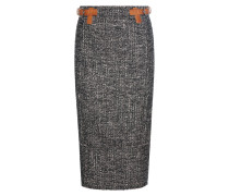 Tweed-Rock aus einem Woll-Mohair-Alpakagemisch mit Lederbesatz