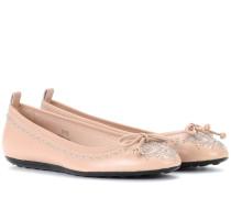 Ballerinas aus Leder mit Nieten