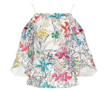 Schulterfreie Crêpe-Bluse mit Print