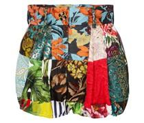 Shorts aus Twill mit Brokat