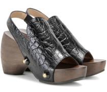 Clog-Sandalen aus geprägtem Leder
