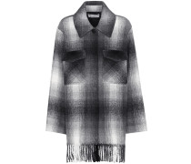Karierte Jacke aus einem Wollgemisch mit Fransen