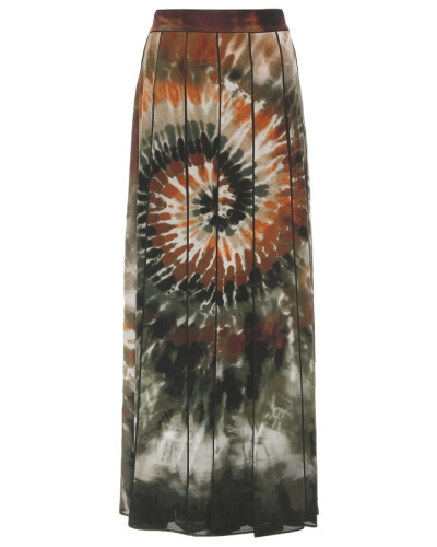 Maxirock aus Seide mit Batikprint