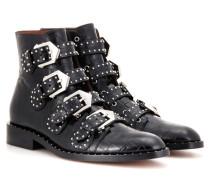 Verzierte Ankle Boots Elegant aus Leder mit Krokodillederprägung