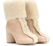 Ankle Boots aus Veloursleder mit Shearling