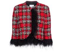 Jacke aus Tweed mit Federn