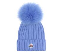 Mütze aus Wolle mit Fell