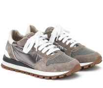 Sneakers aus Veloursleder und Lamé