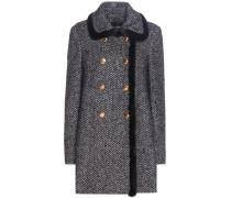 Mantel aus einem Schurwoll-Seiden-Mohairgemisch mit Pelzbesatz