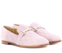 Loafers Double T aus gestepptem Veloursleder
