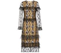 Bedrucktes Kleid aus einem Baumwollgemisch mit Tüll