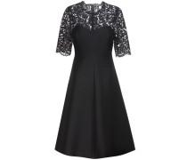 Kleid aus Wolle und Seide mit Spitzeneinsatz