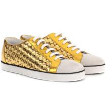 Metallic-Sneakers aus Intrecciato-Leder