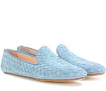Loafers aus Intrecciato-Veloursleder