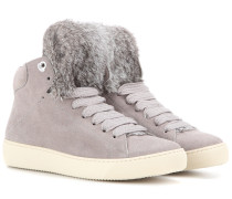 Sneakers Angele aus Veloursleder mit Fell