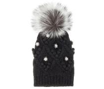 Verzierte Mütze aus Cashmere mit Fuchsfell
