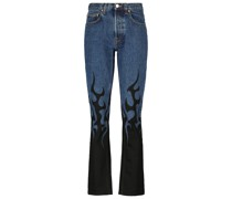 Bedruckte High-Rise Slim Jeans
