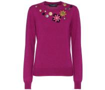 Pullover aus Cashmere mit Kristallen und Knöpfen
