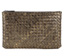 Clutch aus Metallic-Leder