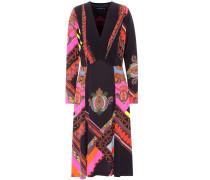 Bedrucktes Kleid mit V-Ausschnitt