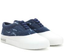 Sneakers aus Denim und Leder