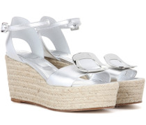 Wedge-Sandalen Corda Chips aus Metallic-Leder