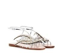 Verzierte Sandalen aus Metallicleder