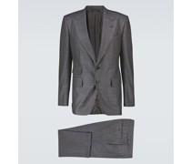 Karierter Anzug aus Wolle und Seide