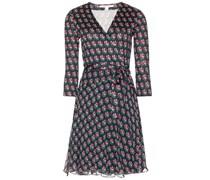 Bedrucktes Kleid Irina aus Seidenjersey und Chiffon