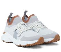 Sneakers aus Strick und Leder