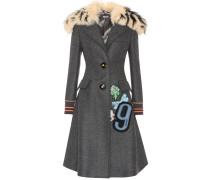 Mantel aus Wolle mit Pelzbesatz