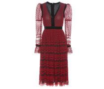 Besticktes Kleid aus Tüll mit Samtbesatz