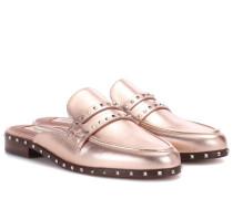 Garavani Slippers aus Metallic-Leder