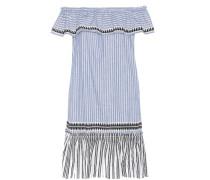 Gestreiftes schulterfreies Kleid Amara aus einem Baumwollgemisch