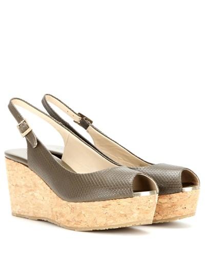 jimmy choo damen wedge sandalen praise aus gepr gtem leder. Black Bedroom Furniture Sets. Home Design Ideas