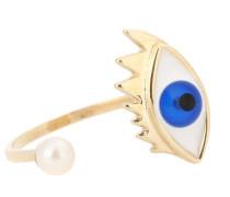 Ring Eye Piercing aus 9kt Gelbgold mit Perle