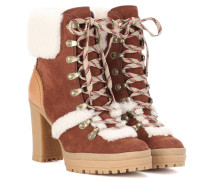 Ankle Boots Claudia aus Veloursleder mit Fell
