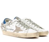 Sneakers Superstar aus Leder mit Kristallen