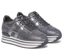 Sneakers Midi Platform aus Veloursleder