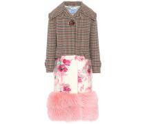 Mantel aus einem Wollgemisch mit Pelz