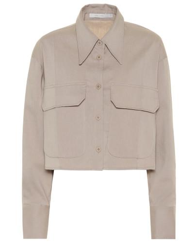 Cropped-Bluse mit Leinenanteil