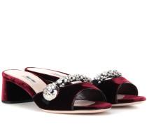 Verzierte Sandaletten aus Samt