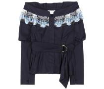Off-Shoulder-Bluse aus einem Baumwollgemisch mit Spitze