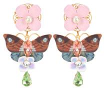 Verzierte Ohrringe mit Kristallen und Leder